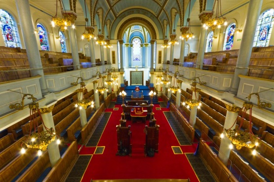 View towards the sanctuary in the Singers Hill Synagogue, Birmingham.